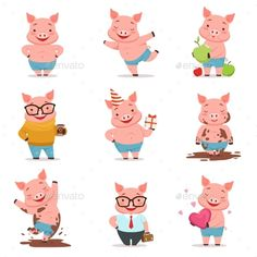 Buy Little Cartoon Pigs Characters Posing by Top_Vectors on GraphicRiver. Little cartoon pigs characters posing in different situations set of vector illustrations isolated on a white background Pig Character, Character Poses, Character Design, Baby Girl Drawing, Pig Drawing, Three Little Pigs, This Little Piggy, Batman Cartoon, Cartoon Pig