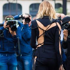 Elena Perminova before Atelier Versace couture show.