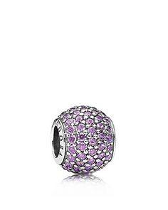 PANDORA Charm - Sterling Silver & Purple Cubic Zirconia Pave Lights |