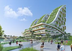 Image 2 of 28 from gallery of Vincent Callebaut Architectures' Plans for Eco-Neighbourhood in Brussels. Courtesy of Vincent Callebaut Architectures Green Architecture, Futuristic Architecture, Landscape Architecture, Architecture Design, Pavilion Architecture, Residential Architecture, Contemporary Architecture, Parque Industrial, Industrial Park