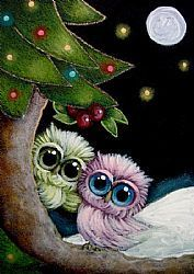 Art: HOLIDAY TINY OWLS - MISTLETOE by Artist Cyra R. Cancel