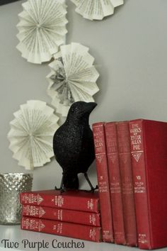 """Quoth the raven, """"Nevermore!"""" This Edgar Allan Poe mantel is SO PERFECT for Halloween! via www.twopurplecouches.com"""