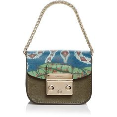Furla Metropolis Printed Mini Leather Pouch ($185) ❤ liked on Polyvore featuring bags, handbags, clutches, white leather purse, leather handbags, real leather purses, genuine leather handbags and white leather pouch