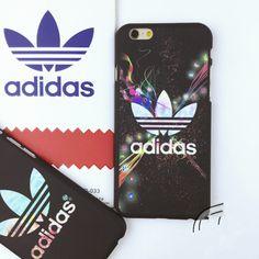 Adidasおしゃれブランド夜光マット素材スマホケースiPhone7/7 Plus/6S plusアイフォン5S/SEハードケース縞模様携帯カバーかっこいい男女向け