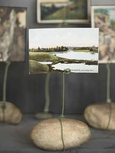 From Backyard Stone to Playful Photo Display:   Danny Seo, author of Upcycling ($18; Running Press), created this rocksteady holder with an 18-inch-long piece of floral craft wire (99 cents for 20; afloral.com). Tightly loop one end of the wire around a stone; then wrap the wire around itself to secure. Stand the remaining length of wire upright, twisting the top inch or so into a flattened spiral circle (as shown). Insert a postcard or snapshot for a picture-perfect effect.