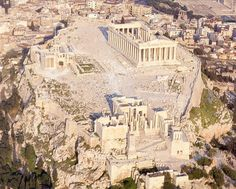 Aerial view of the Acropolis, Athens, Greece