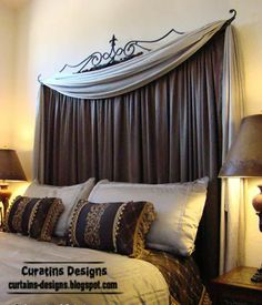 curtain headboard, curtains as headboard, scarf valance
