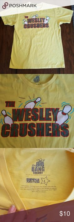"""Men's Tee """"The Wesley Crushers"""" Men's Tee """"The Wesley Crushers"""", in good used condition.  Yellow with bowling pins, from The Big Bang Theory The Big Bang Theory Shirts Tees - Short Sleeve"""