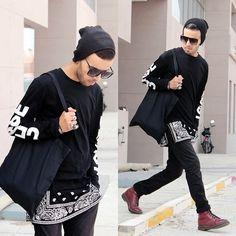 Faissal Yartaa - Choies Black, Giant Vintage Dope Sunglasses - VLL BLACK EVERYTHING