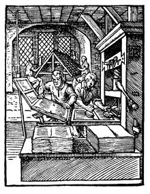 The Gutenberg Printing press way.