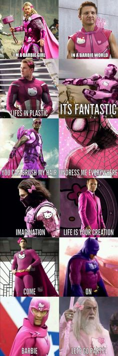 Marvel jokes - I'm a barbie girl memes humour fun barbie Marvel Jokes, Ms Marvel, Humour Avengers, Funny Marvel Memes, Dc Memes, Funny Comics, Memes Humour, Movie Memes, Really Funny Memes