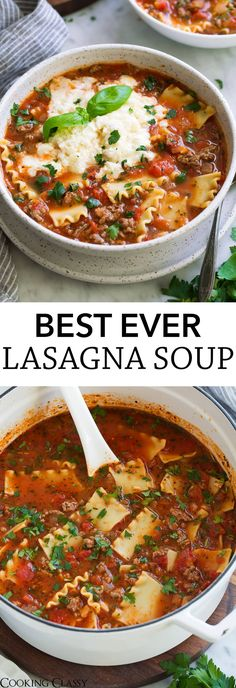 Lasagna Soup – the ULTIMATE lasagna soup and the best way to warm up on a cold day! We've been making this for 5 years, a family favorite! The post Lasagna Soup – the ULTIMATE lasagna soup and the b… appeared first on Woman Casual - Food and drink Healthy Lasagna, Cooking Lasagna, Crockpot Lasagna Soup, Lasagne Soup, Lasagna Food, Keto Lasagna, Lasagna Recipes, Cooking Pasta, Food Dinners