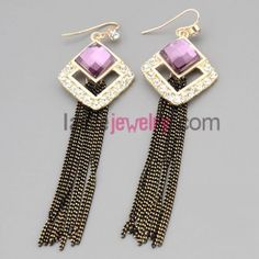 Elegant hoop earrings with zinc alloy decorated rhinestone and purple crystal and chain pendant