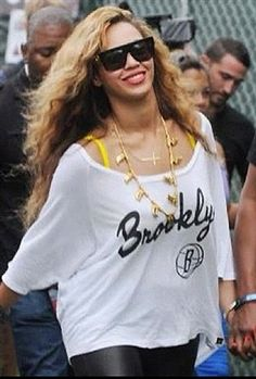 Get Beyonce's Look, the Sportiqe Apparel Brooklyn Nets Dixie T-Shirt in White