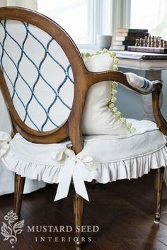 Dining Chair Slipcover Tutorial - Miss Mustard Seed = my possible vanity chair? I think SO! <3 <3 <3