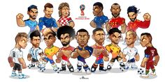 World Cup 2018 Draw Time New Worldcup Russia 2018 Mascotization Messi Cristiano Neymar Salah Barcelona Players, Real Madrid Players, Football Art, Football Players, Ronaldo Football, Fifa, Soccer Drawing, Messi Vs, Russia 2018