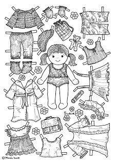 Karen`s Paper Dolls: Susie Paper Doll to Colour. Susie påklædningsdukke til at farvelægge.