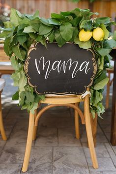 Mama's chair + signage from a Rustic Lemon Themed Baby Shower on Kara's Party Ideas | KarasPartyIdeas.com (27)