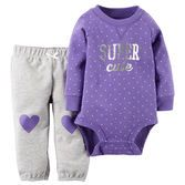 Sweet and simple, this little set features cinched cuffs, hearts at the knees and a sparkly slogan to keep her super cute and comfy.<br>