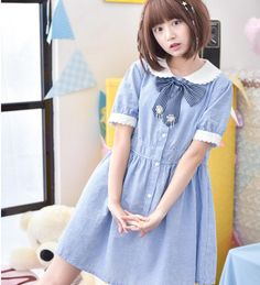 Mori meisje peter pan collarbowknot gestreepte kawaii lolita dress mini a-lijn dress denim studenten jurken m048