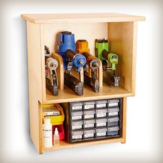 Organize your air nailers and nail supply with this wall-mounted weekend project. (This plan was originally published in the June 2012 issue of Woodworker's Journal.)