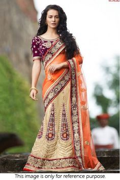 Bollywood Style Model Net and Velvet Lehenga Saree In Beige and Orange Colour NC1661