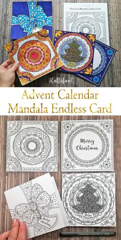 An Advent Calendar to Color In! A most special one! An Advent Calendar Mandala Endless Card - the best way to count down the days til Christmas.