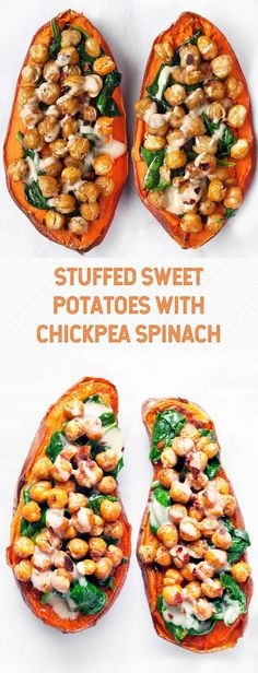 STUFFED SWEET POTATOES WITH CHICKPEA SPINACH Veggie Recipes, Whole Food Recipes, Vegetarian Recipes, Cooking Recipes, Healthy Recipes, Dinner Recipes, Vegan Recipes Spinach, Cooking Tips, Ovo Vegetarian