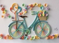 Quilled bicycle  colorful quilling card