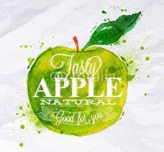 Вектор: Poster fruit apple green