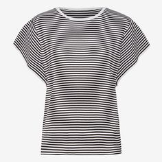 The perfect knitwear piece to wear daytime leading into the cooler nights. Crafted in a cotton silk blend, an easy wear nocturnal stripe with a detailed flutter sleeve. Great to dress up your work attire. Relaxed in styling and finishes below the hip 50% POLYESTER 33% COTTON 8% SILK 3% NYLON 2% POLYMIDE