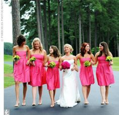 #hot pink wedding ... hot pink bridesmaids