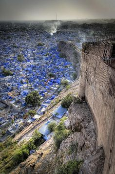 The Blue City of Jodhpur, India from the view of imposing Mehrengarh Fort. www.TheTripStudio.com