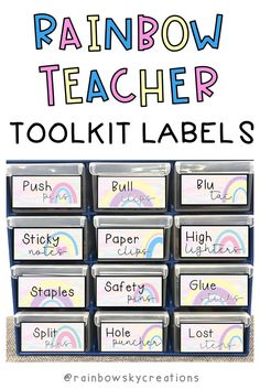 Rainbow Teacher toolkit labels - Teaching is so much easier when you have everything at your fingertips. Use these labels to create an organised teacher toolbox in our beautiful rainbow theme! These Teacher Toolbox Labels have been created to fit into the 'Handy Storage Drawer Organiser' from Bunnings Australia. #rainbowskycreations #austeachers Classroom Display Boards, Classroom Tools, Classroom Organisation, Classroom Displays, Classroom Libraries, Classroom Decor, Lesson Plan Organization, Teacher Organization, Teacher Hacks