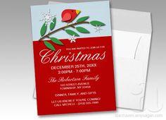 Red Holiday Bird Christmas Invitations