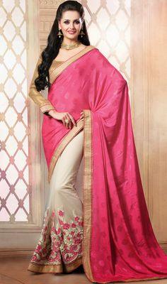 Pink and Cream Jacquard Net Half N Half Saree Price: Usa Dollar $98, British UK Pound £58, Euro73, Canada CA$106 , Indian Rs5292.