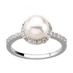 GEMaffair LADIES 14K WHITE GOLD RING W/ CULTURED PEARL & DIAMONDS