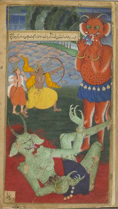 Folio from the Ramayana of Valmiki (The Freer Ramayana), 1597-1605, Mohan , (Indian, Mughal dynasty)