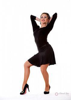 Natural Spin Signature Latin Skirt:  LS01_BLACK