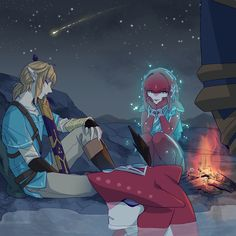 :'( Link, Sidon, and Mipha watching her boys | Legend of Zelda Breath of the Wild