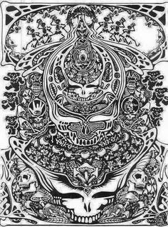 Grateful dead merchandise drawing by lopez of a for Grateful dead coloring pages