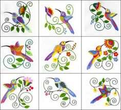 """""""Crystal Hummingbirds"""" Fly over to get these lovely #MachineEmbroidery hummingbirds, digitized for use with 3mm or larger crystals, and add some winged and floral, Jacobean flair to quilts, garments and more!"""