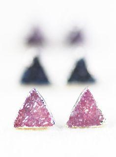 earrings silver druzy stud