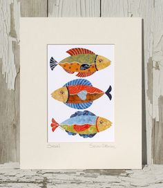 8x10 Matted Art Print TITLED & SIGNED / Whimsical Fish / Wall Art / Beach Art / Nursery Art / Printed from My Original Coastal Illustration