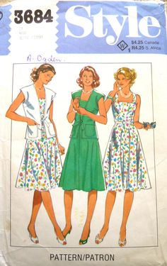 Dress and Short Sleeved Jacket Vintage Sewing Pattern. 1980s Dresses, Vintage Sewing Patterns, Pattern Fashion, Cover Up, Jackets, Cyber, Mall, Women, Boutique