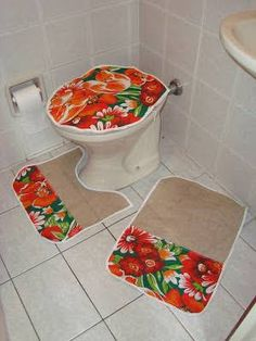 Resultado de imagem para jogo de banheiro com chita