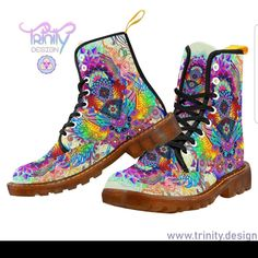 Etsy :: Your place to buy and sell all things handmade Rave Shoes, Floral Combat Boots, Shoe Crafts, Moccasins Mens, Moccasin Boots, Leather Boots, Hiking Boots, Calves, Lace Up