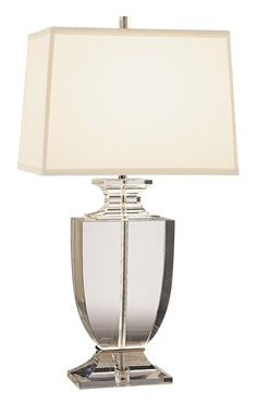 Artemis Clear Lead Crystal Table Lamp with Off-White Shade -