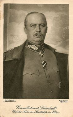 Erich Friedrich Wilhelm Ludendorff (sometimes incorrectly referred to as von Ludendorff) (9 April 1865 – 20 December 1937) was a German general, victor of Liège and of the Battle of Tannenberg. From August 1916 his appointment as Quartermaster general made him joint head (with Hindenburg), and chief engineer behind the management of Germany's effort in World War I until his resignation in October 1918. Ludendorff was a recipient of the Grand Cross of the Iron Cross and the Pour le Mérite.