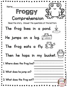 FREE PRINTABLES Kindergarten Reading Passage with Comprehension Questions – FREEBIES Spring Frog theme – fluency and sight word practice – guided reading groups – small reading groups and intervention – first grade RTI - Kids education and learning acts 1st Grade Reading Worksheets, First Grade Reading Comprehension, English Worksheets For Kids, Phonics Reading, Kindergarten Writing, Reading For Grade 1, Writing Practice For Kids, 1st Grade Writing Worksheets, Free Reading Comprehension Worksheets